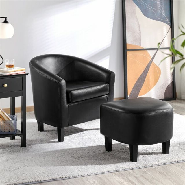 Faux Leather Club Chair And Ottoman Set Armchair With Ottoman For Living Room In Faux Leather Barrel Chair And Ottoman Sets (View 17 of 20)