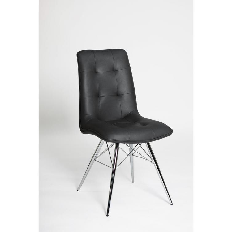"""Faux Leather Dining Chairs With Chrome Legs Grey, Ochre Or Orange (sold In Pairs Only) """"bay Chair Colours : Grey"""" Regarding Trent Side Chairs (View 18 of 20)"""