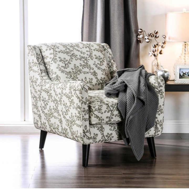 Feer Transitional Ivory Fabric Floral Armchair Regarding Bethine Polyester Armchairs (set Of 2) (View 17 of 20)