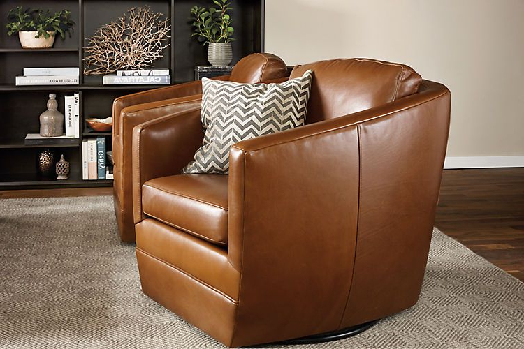 Ford Leather Swivel Chairs – Modern Accent & Lounge Chairs Within Navin Barrel Chairs (View 17 of 20)