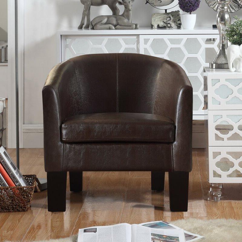 "Franky 26"" W Faux Leather Barrel Chair Regarding Lucea Faux Leather Barrel Chairs And Ottoman (View 20 of 20)"