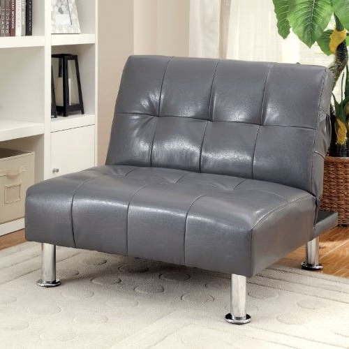 Furniture Of America Dunbar Convertible Chair With Button In Perz Tufted Faux Leather Convertible Chairs (View 8 of 20)