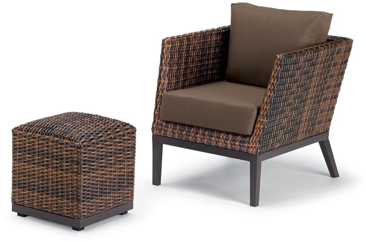 Garden Salino 2 Piece Sable Resin Wicker Woven Club Chair And Ottoman Pouf Lounge Set – Toast Cushions Within Riverside Drive Barrel Chair And Ottoman Sets (View 18 of 20)