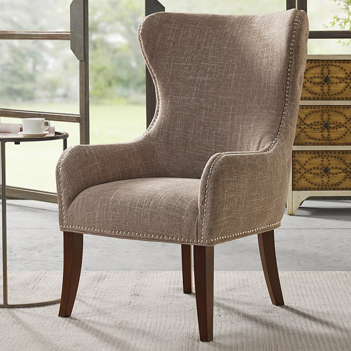 Geoffrey Button – Tufted Back Accent Chair – Camel With Sweetwater Wingback Chairs (View 13 of 20)