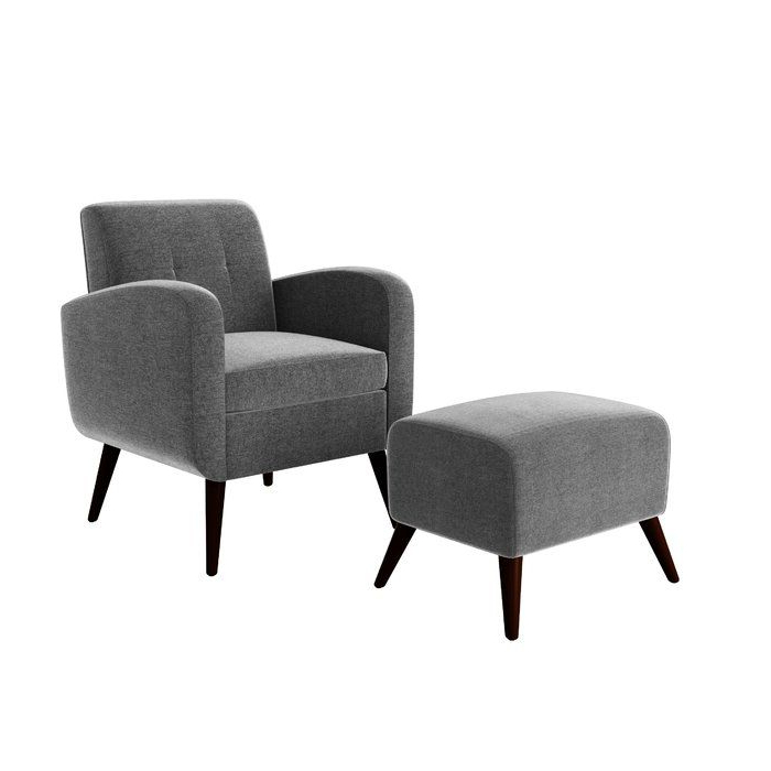 """George Oliver Joetta 20"""" Armchair And Ottoman & Reviews For Michalak Cheswood Armchairs And Ottoman (View 12 of 20)"""