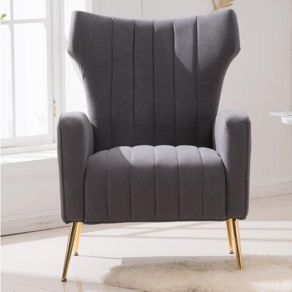 Gray Velvet Wingback Chair For Lauretta Velvet Wingback Chairs (View 9 of 20)