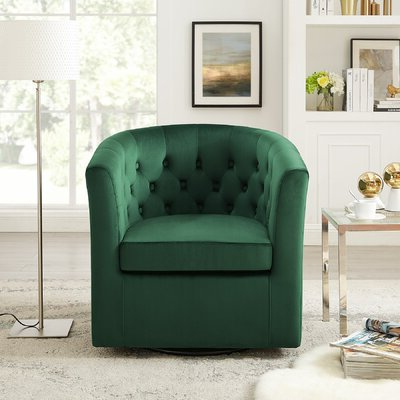Haglund Swivel Barrel Chair – Wayfair With Alwillie Tufted Back Barrel Chairs (View 16 of 20)