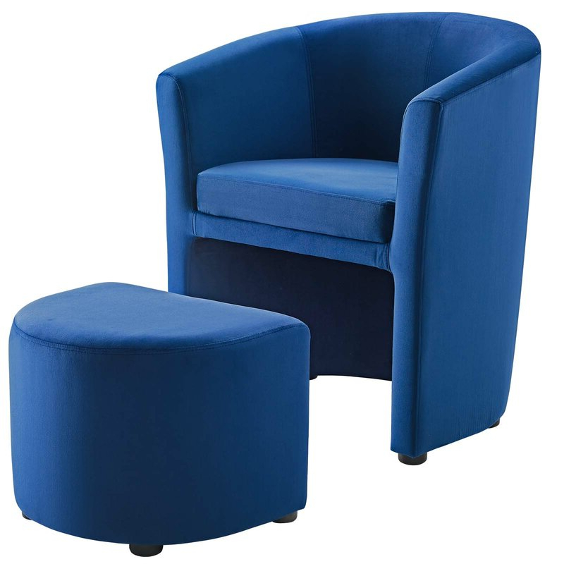 Hallsville Performance Velvet Armchair And Ottoman Intended For Hallsville Performance Velvet Armchairs And Ottoman (View 4 of 20)