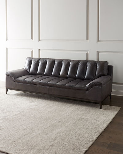 Handcrafted Tufted Leather Sofa | Neiman Marcus Inside Perz Tufted Faux Leather Convertible Chairs (View 20 of 20)