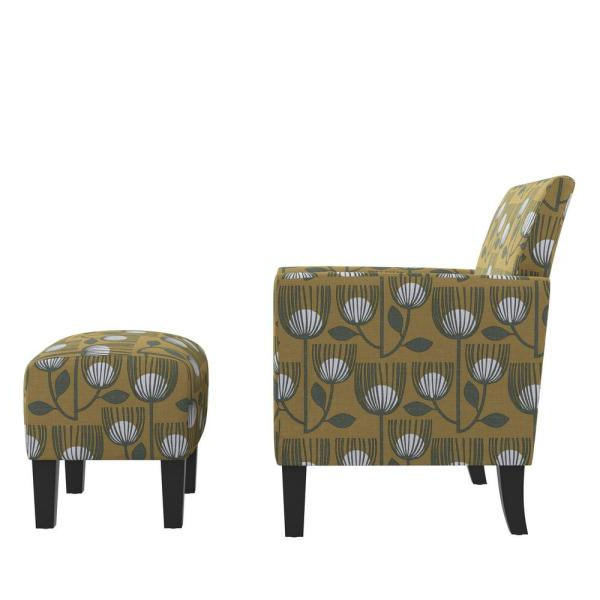Handy Living Mimi Rose Half Round Gold Modern Tulip Print Within Modern Armchairs And Ottoman (View 19 of 20)