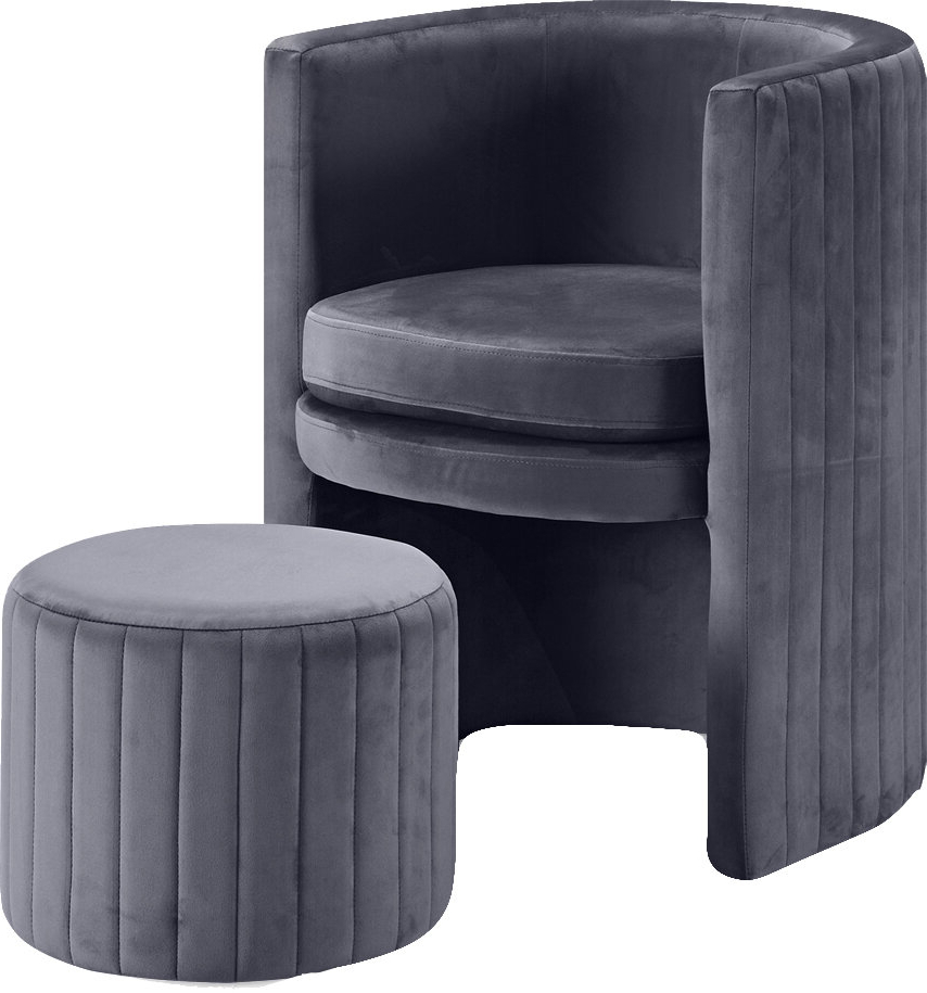 Harmon Cloud Barrel Chair And Ottoman Throughout Annegret Faux Leather Barrel Chair And Ottoman Sets (View 7 of 20)
