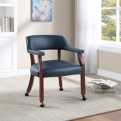 Heideman Leather Arm Chair Upholstery Color: Navy Intended For Aime Upholstered Parsons Chairs In Beige (View 9 of 20)