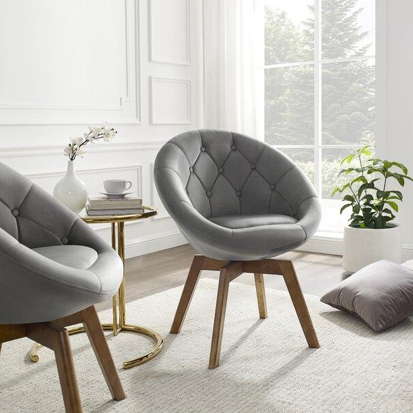 High Back Velvet Chair Regarding Didonato Tufted Velvet Armchairs (View 18 of 20)