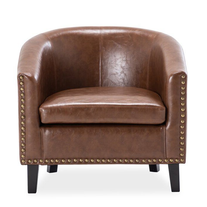 Hiliritas Barrel Chair In 2020 | Barrel Chair, Upholstered Inside Liam Faux Leather Barrel Chairs (View 15 of 20)