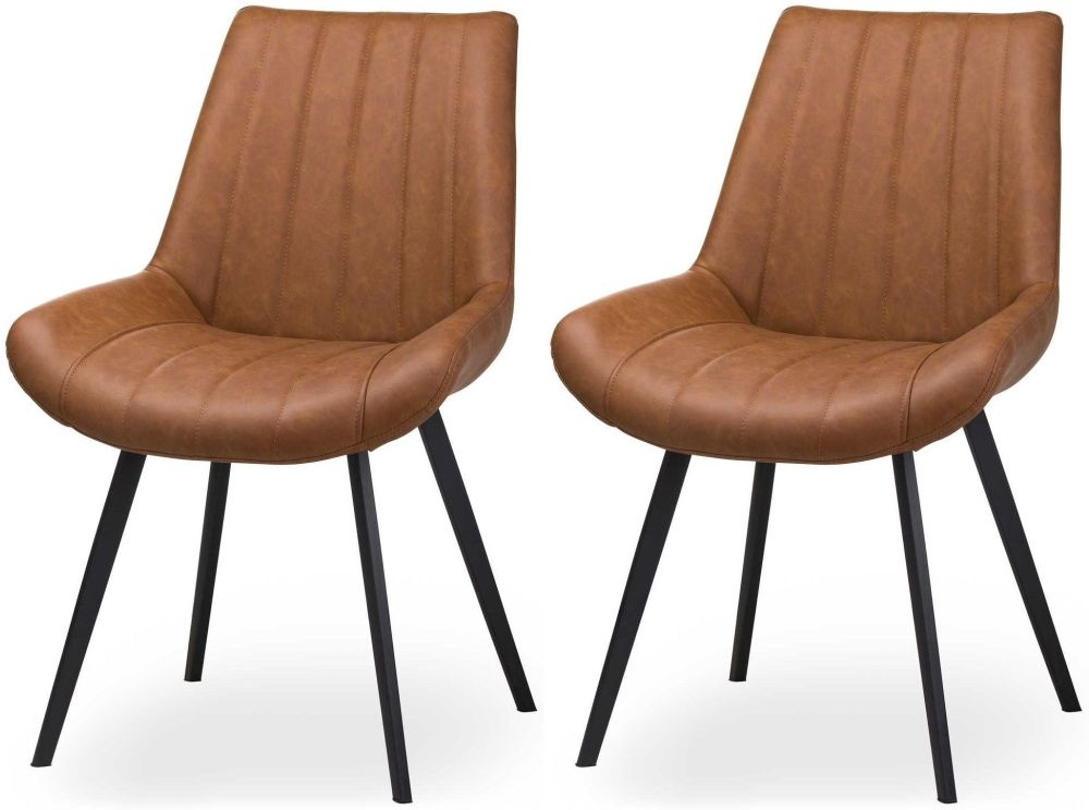 Hill Interiors Malmo Tan Brown Faux Leather Dining Chair (pair) – Cfs Furniture Uk Pertaining To Jill Faux Leather Armchairs (View 10 of 20)