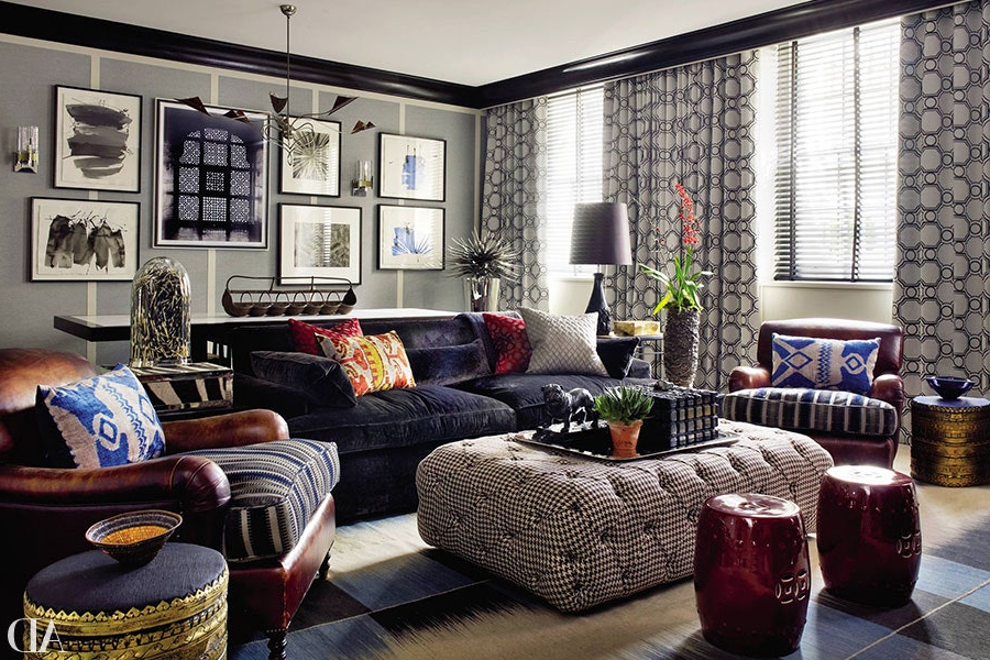 How To Incorporate Ottomans Into Your Living Room Decor Within Starks Tufted Fabric Chesterfield Chair And Ottoman Sets (View 7 of 20)