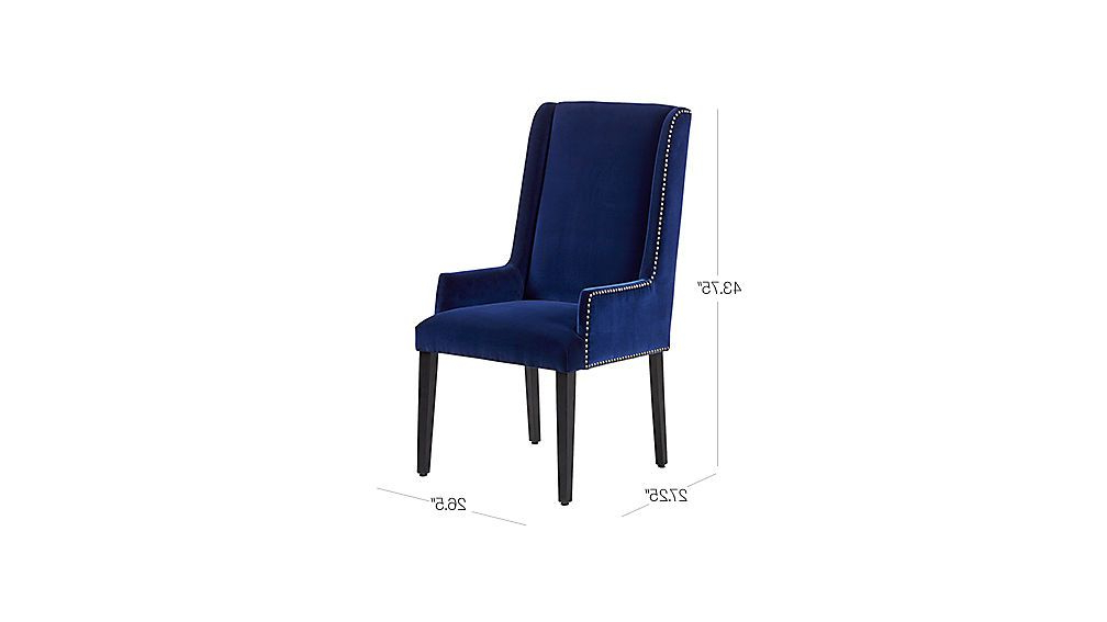 Image With Dimension For Reynolds Navy Velvet Chair | Chair For Reynolds Armchairs (View 12 of 20)