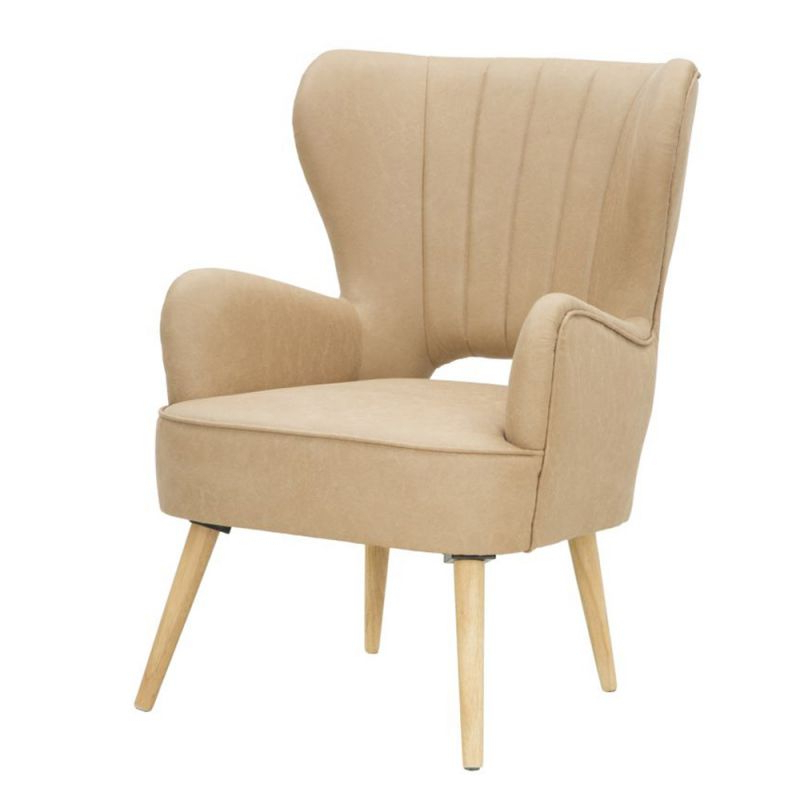Industrial Style Design Armchair In Faux Leather And Wood Within Montenegro Faux Leather Club Chairs (View 10 of 20)