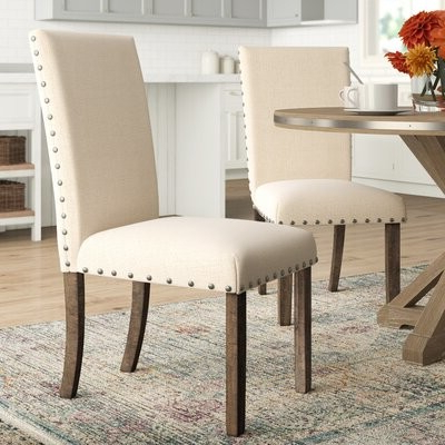 Ismay Linen Upholstered Dining Chair In Beige Throughout Bob Stripe Upholstered Dining Chairs (set Of 2) (View 12 of 20)