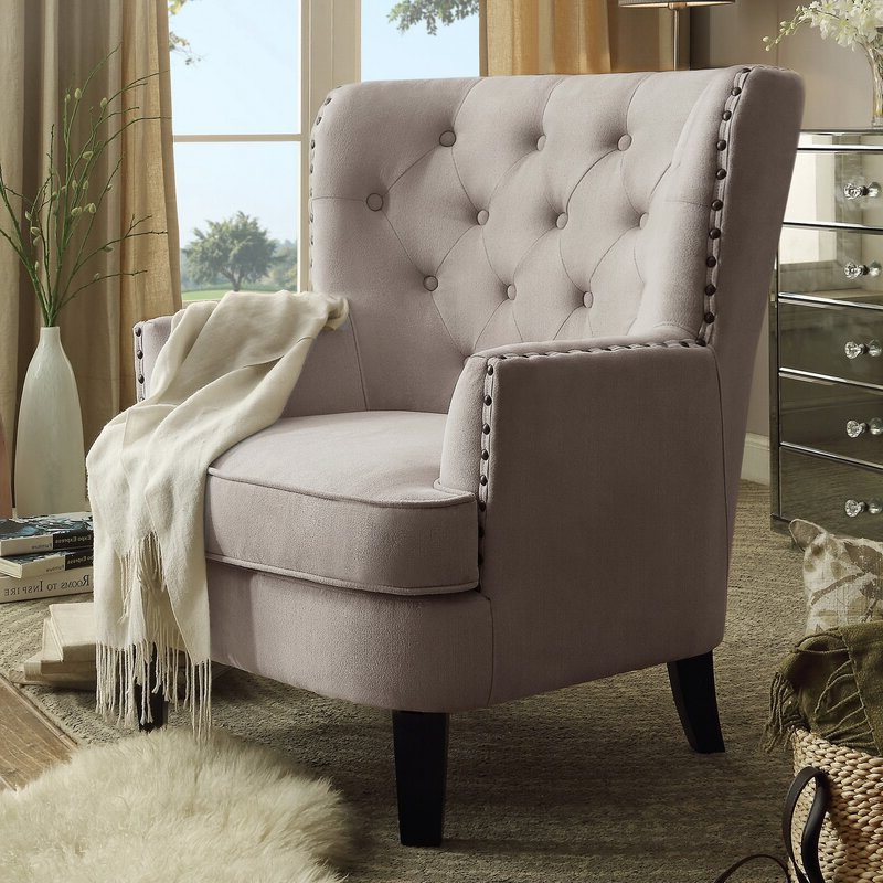 "Ivo 30"" W Tufted Wingback Chair With Regard To Galesville Tufted Polyester Wingback Chairs (View 16 of 20)"