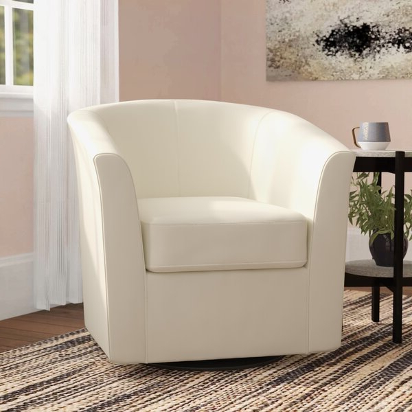 Ivory Leather Accent Chair With Ansar Faux Leather Barrel Chairs (View 12 of 20)