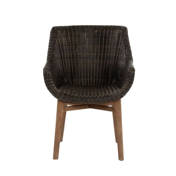 James Outdoor Wicker And Reclaimed Teak Dining Armchair With James Armchairs (View 8 of 20)
