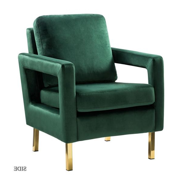 Jayden Creation Anika Green Gold Legs Armchair Chm0014 Green With Regard To Filton Barrel Chairs (View 20 of 20)