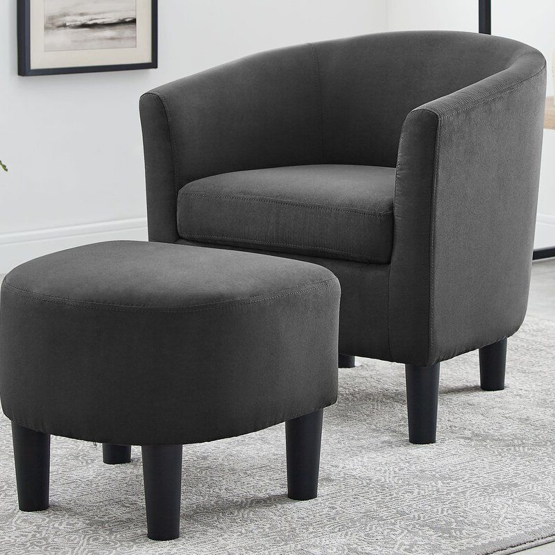 Jazouli Linen Barrel Chair And Ottoman | Accent Side Chair With Jazouli Linen Barrel Chairs And Ottoman (View 7 of 20)