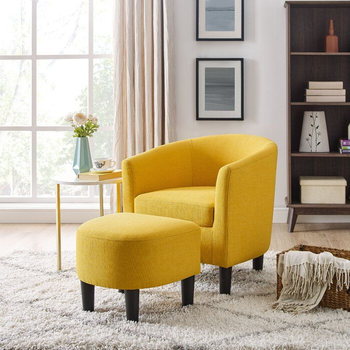 Featured Photo of Jazouli Linen Barrel Chairs And Ottoman