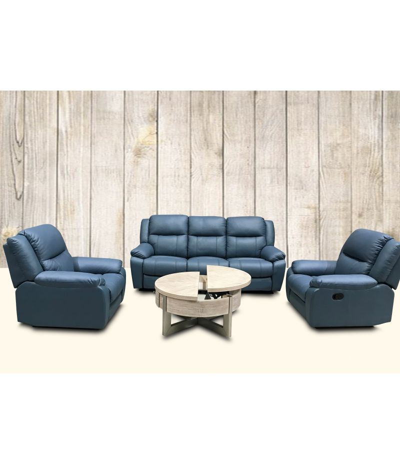 Jill Leather Recliner Lounge Suite Set (3 Seater +2 Seater + Within Jill Faux Leather Armchairs (View 15 of 20)