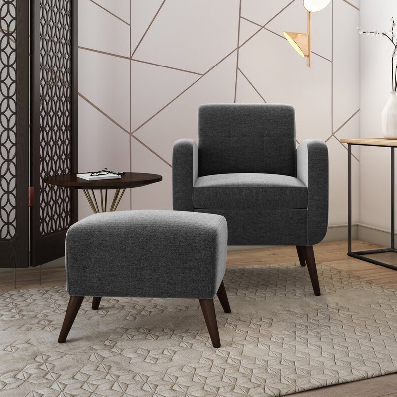"Joetta 20"" Armchair And Ottoman In Modern Armchairs And Ottoman (View 13 of 20)"