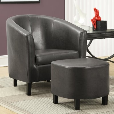 "Karah 29"" W Faux Leather Barrel Chair And Ottoman Intended For Gilad Faux Leather Barrel Chairs (View 11 of 20)"