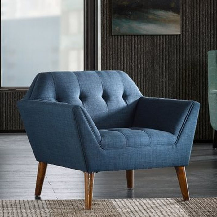 Langley Street Belz Armchair In Blue Pertaining To Belz Tufted Polyester Armchairs (View 7 of 20)
