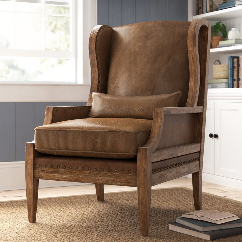 """Laurel 28"""" W Wingback Chair With Marisa Faux Leather Wingback Chairs (View 16 of 20)"""