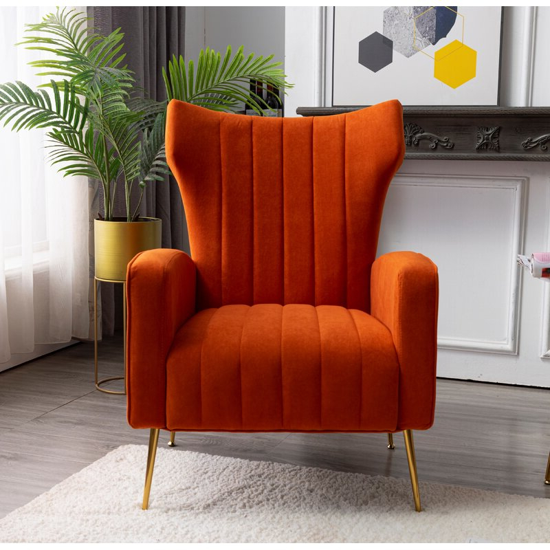 Lauretta Wingback Chair Pertaining To Lauretta Velvet Wingback Chairs (View 7 of 20)