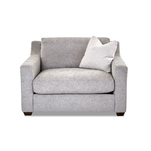 "Lazarus 55"" W Polyester Down Cushion Armchair Throughout Leia Polyester Armchairs (View 16 of 20)"