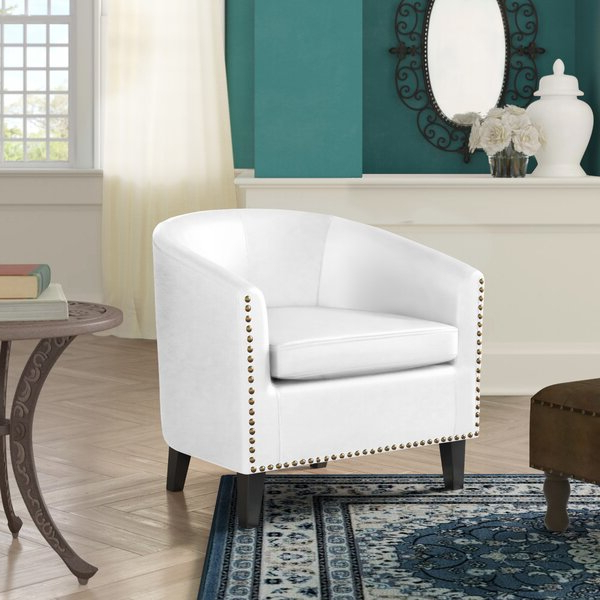 Leather Barrel Accent Chairs With Regard To Coomer Faux Leather Barrel Chairs (View 5 of 20)
