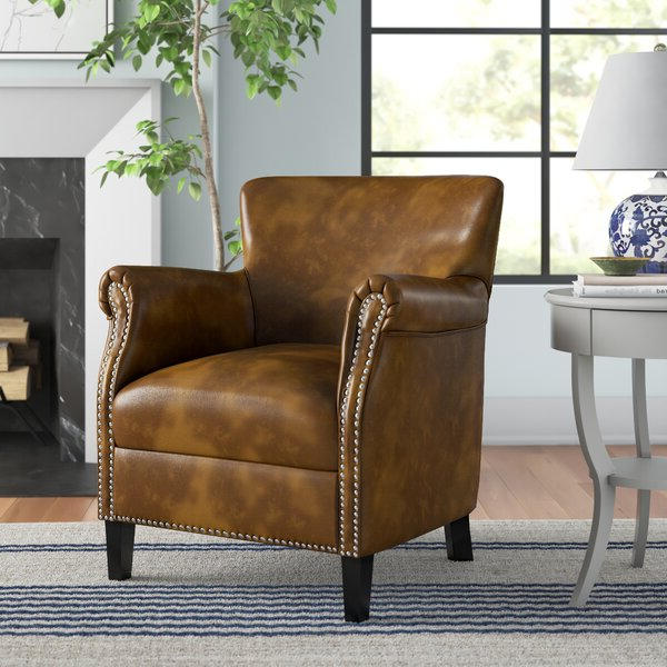 Leather Chair With Wood Arms Within Marisa Faux Leather Wingback Chairs (View 9 of 20)