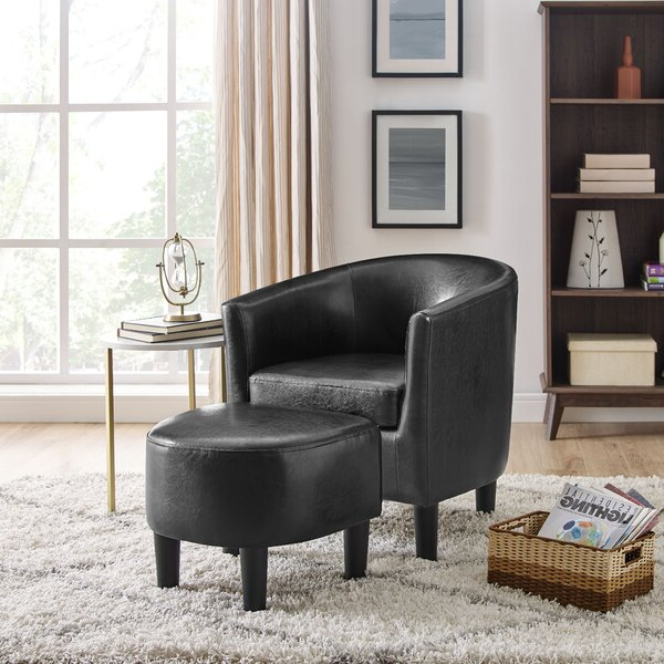 Leather Egg Chair With Ottoman Inside Annegret Faux Leather Barrel Chair And Ottoman Sets (View 3 of 20)