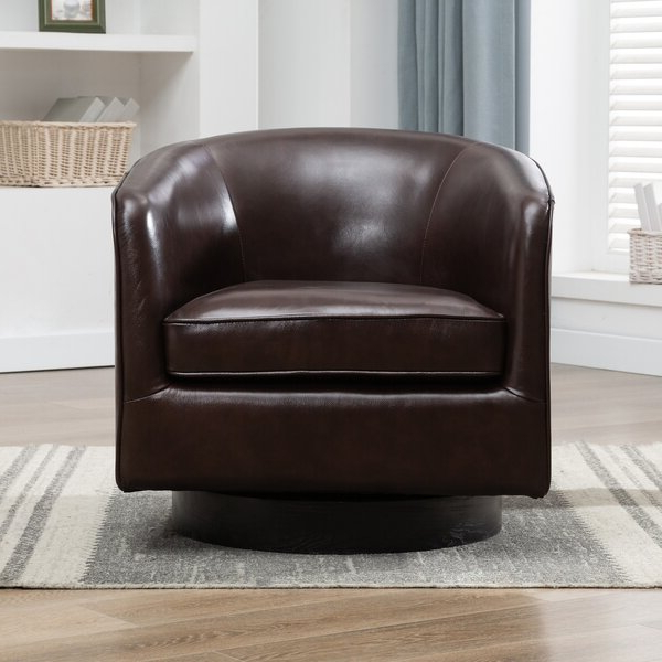 Leather Swivel Chairs With Hazley Faux Leather Swivel Barrel Chairs (View 12 of 20)