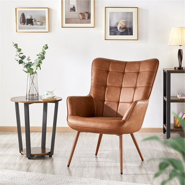 Leather Vinyl Wingback Chair Pertaining To Waterton Wingback Chairs (View 17 of 20)