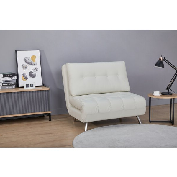 """Leola 40"""" W Faux Leather Convertible Chair Throughout Perz Tufted Faux Leather Convertible Chairs (View 7 of 20)"""