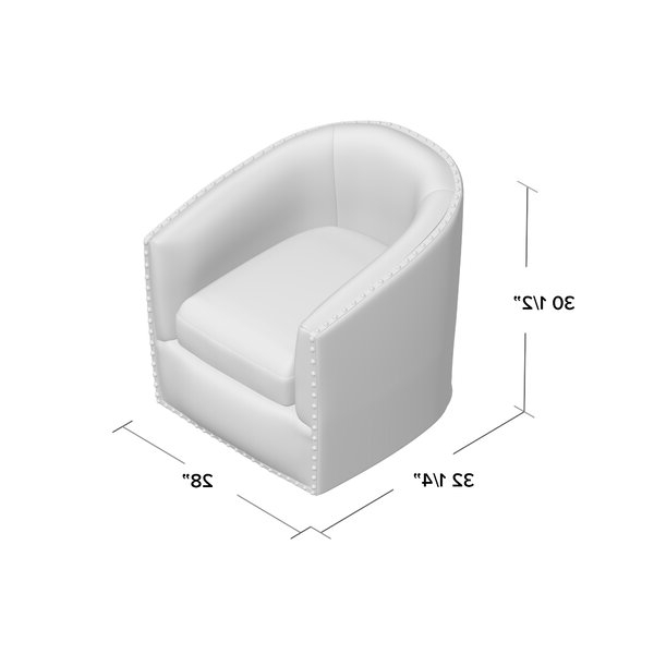 """Leominster 28"""" W Polyester Swivel Barrel Chair In Danow Polyester Barrel Chairs (View 14 of 20)"""