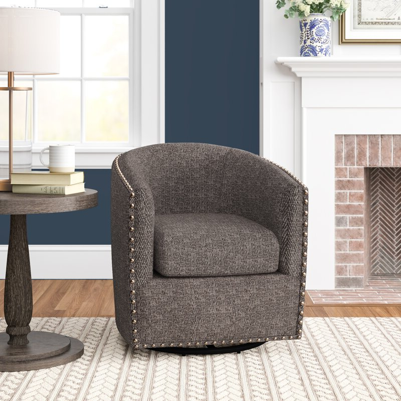 "Leominster 28"" W Polyester Swivel Barrel Chair With Regard To Giguere Barrel Chairs (View 11 of 20)"