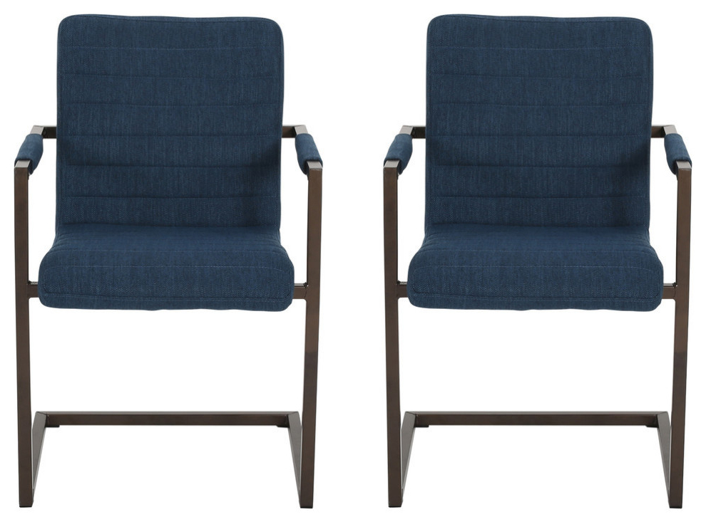 Lilith Modern Fabric Arm Chair, Set Of 2, Navy Blue/bronze With Filton Barrel Chairs (View 16 of 20)