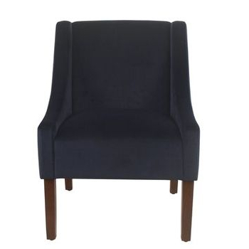 Linen Look Charcoal Gray Classic Swoop Arm Accent Chair Within Myia Armchairs (View 8 of 20)