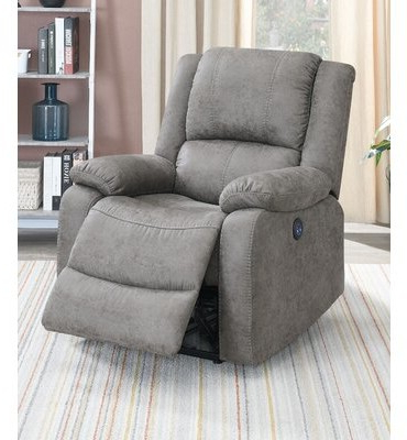 Loehr Power Recliner Upholstery Color: Antique Gray Faux Leather With Regard To Ansby Barrel Chairs (View 7 of 20)