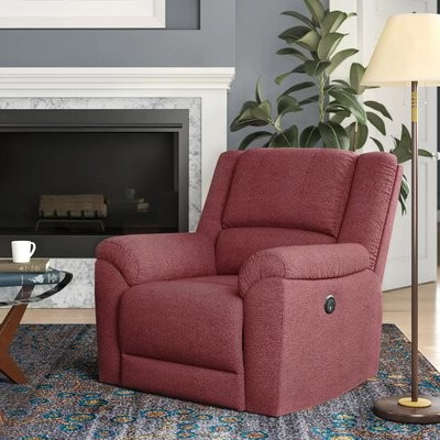 Lomita Power Recliner Fabric: Paprika Red Velvet With Chaithra Barrel Chair And Ottoman Sets (View 16 of 20)