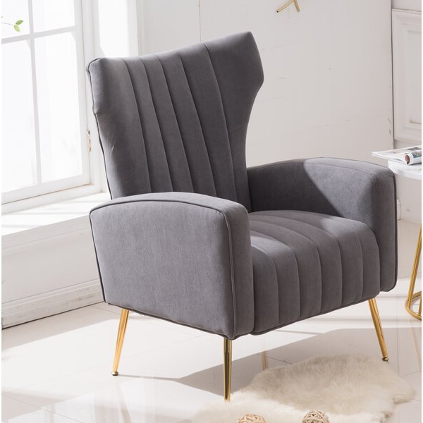Loretta Accent Chair Grey Within Lauretta Velvet Wingback Chairs (View 19 of 20)