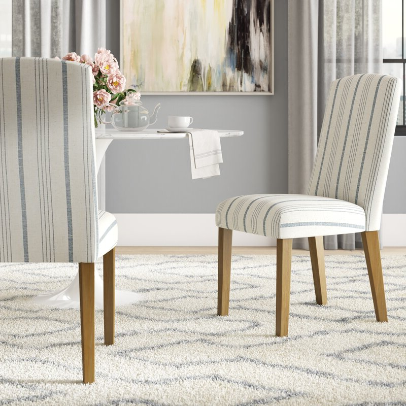 Louis Upholstered Dining Chair Intended For Bob Stripe Upholstered Dining Chairs (set Of 2) (View 11 of 20)